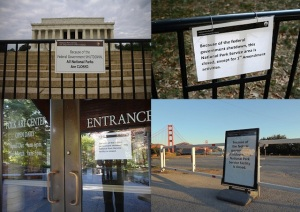 Shutdown signage. (Credits counter clockwise from left to right: images via Flickr users Rich Renomeron, Stephen D. Melkisethian, zen, davidyuweb)