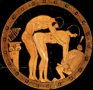 Spartan art celebrating sex between two men